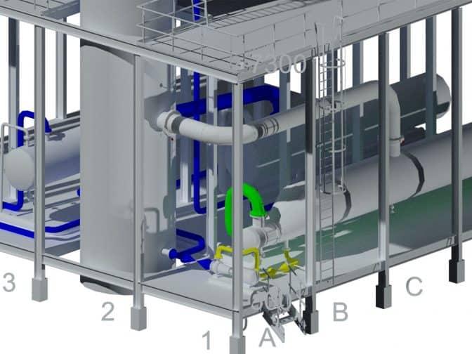 model instalacji przemyslowej wykonanej w autocad plant 3d
