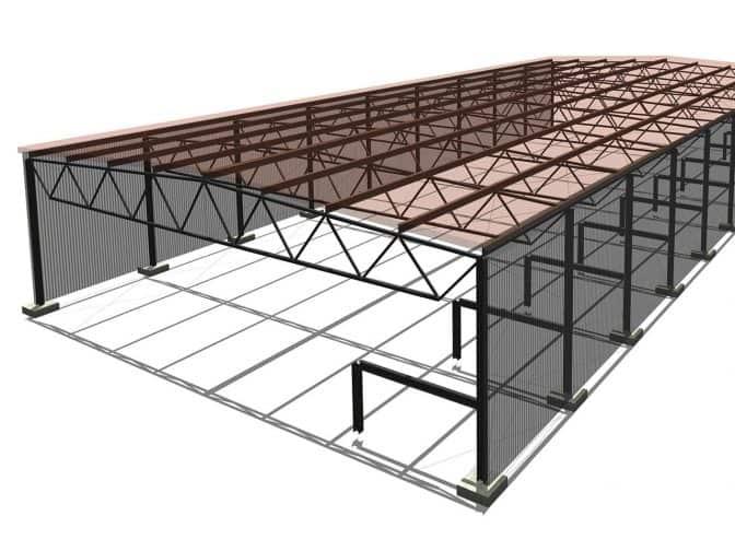 model hali stalowej w programie revit
