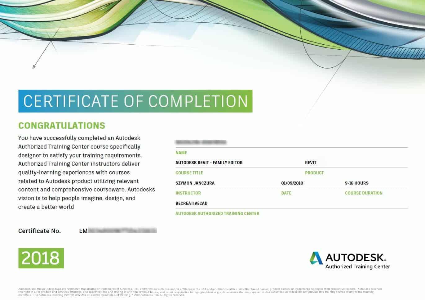 certyfikat autodesk revit rodziny