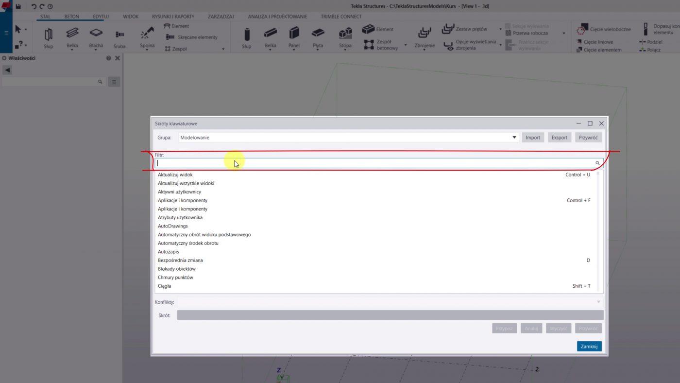 filtrowanie skrótów w programie tekla